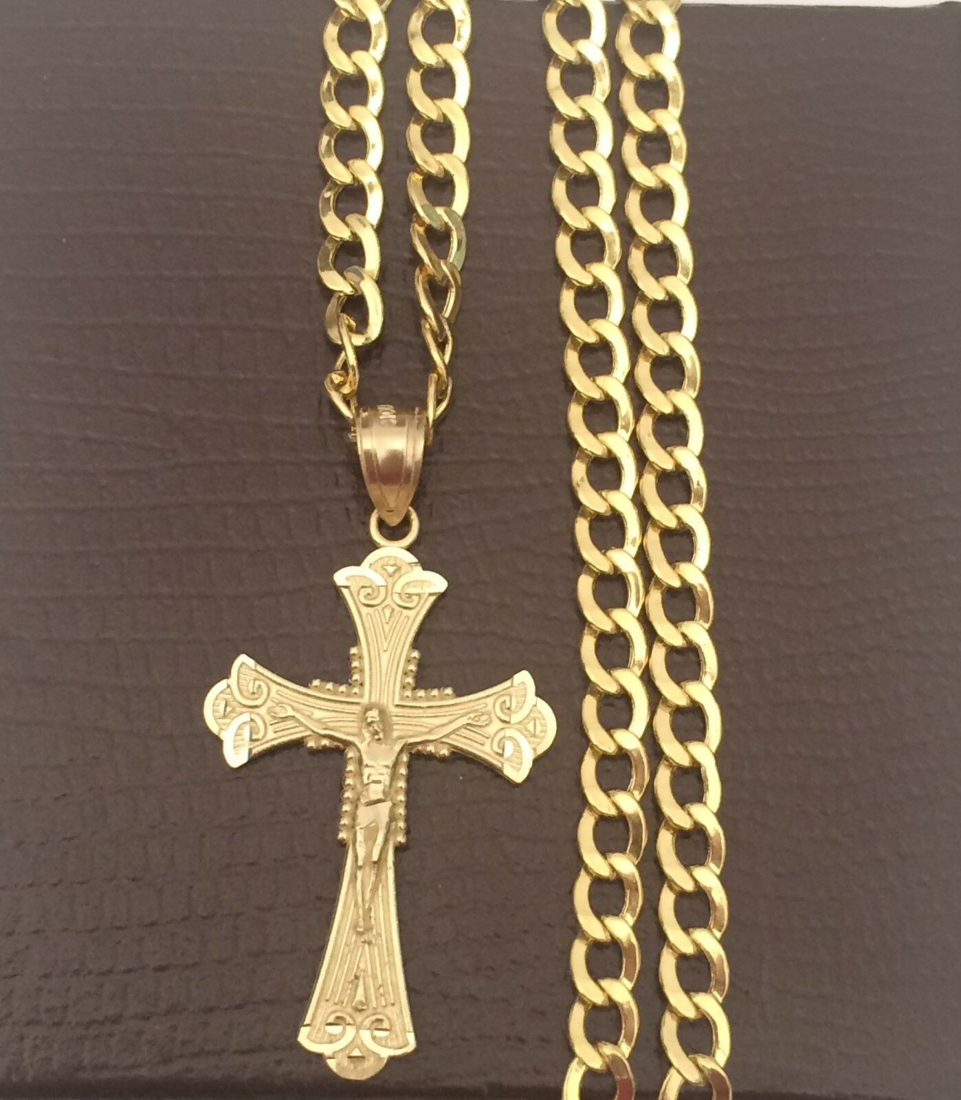 Real 10k yellow Gold Jesus Crucifix Cross Pendant Charm + 20