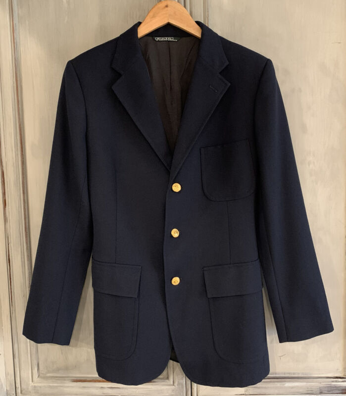 Ralph Lauren Polo Vintage Navy Blue Blazer Jacket Young Men Boys Sz 20