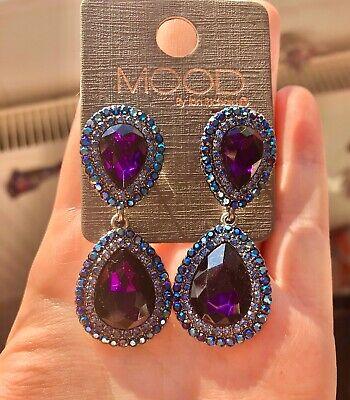 Mood By Jon Richard Purple Gem Blue Crystal Dangle Teardrop Earrings