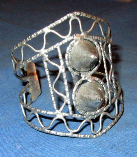 "Bracelet Spike Cuff Afghan Kuchi Tribal Alpaca Silver 3"" dia NEW!!!"
