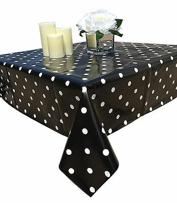 BLACK COLOR RECTANGULAR POLKA DOTS VINYL TABLECLOTH NON - WOVEN BACKING - Black Vinyl Tablecloth