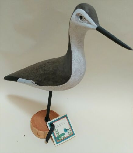 "WILLETT CARVED SHORE BIRD BY BARBARA KEARNS 15"" WOOD TALL RARE VINTAGE"