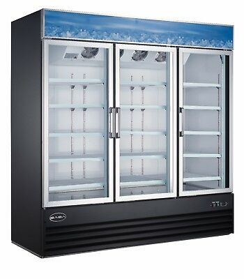 Saba 63 Cu Ft Commercial Merchandiser Refrigerator Display Case 3 Glass Doors