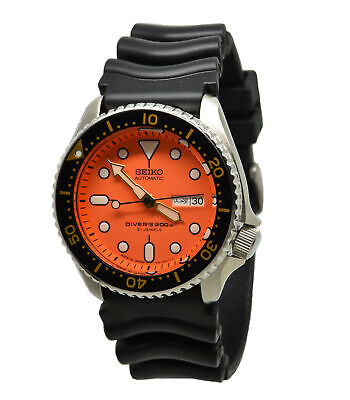 - Seiko Automatic Diver SKX011J1 Orange Dial Black Rubber Band Mens Made in Japan
