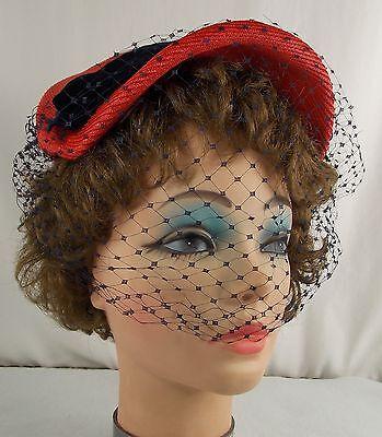 SIMONE CANGE of Paris Designer Ladies Vintage Hat Red w/ Navy Veil Velvet Bow