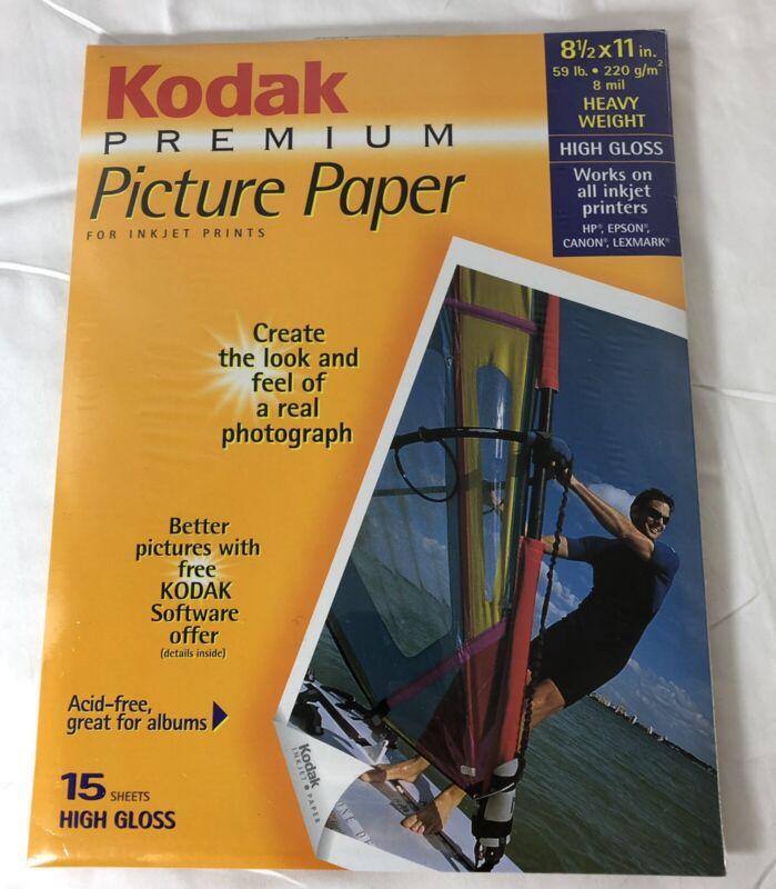 "Kodak Premium High Gloss Ink Jet 8 Mils Picture Photo Paper 8.5"" X 11"" 15 Ct."