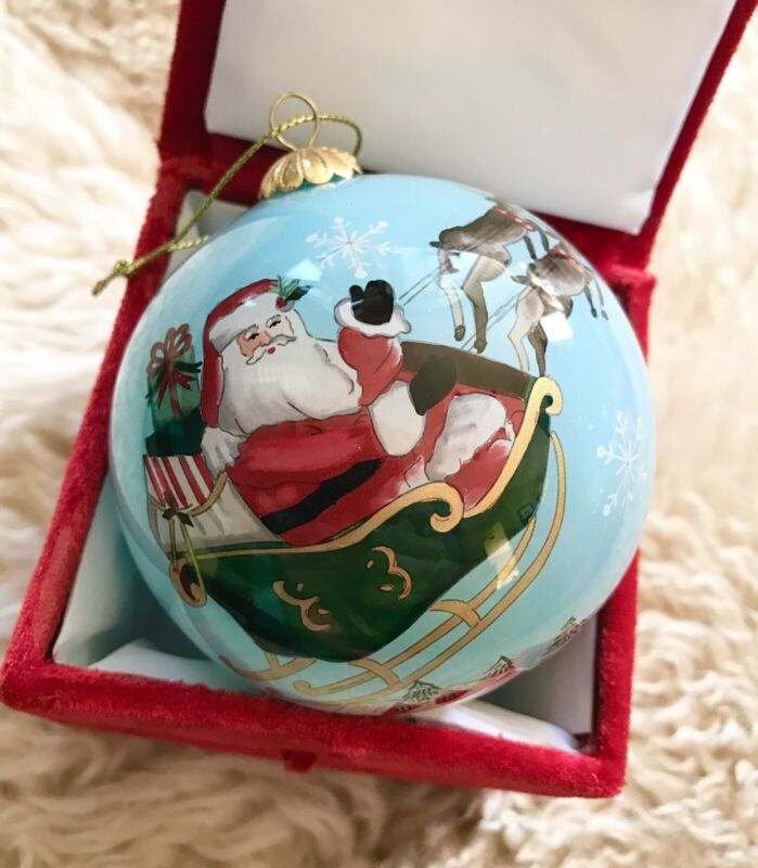BRAND NEW LI BIEN SANTA SLEIGHT MERRY CHRISTMAS 2020 GLASS BALL ORNAMENT