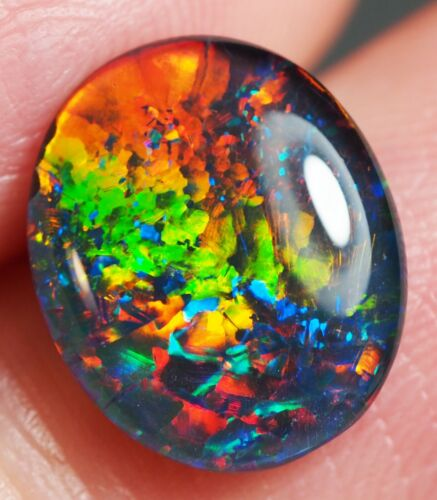 Super Gem A+++ Natural Australian Coober Pedy Opal Triplet 12x10 mm pendant ring