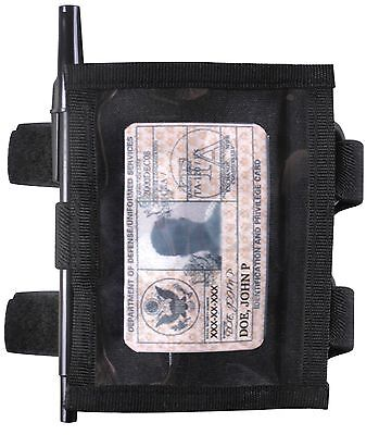 Black Military Style Armband ID Holder - Arm Attach Identificatoin Panel Holders