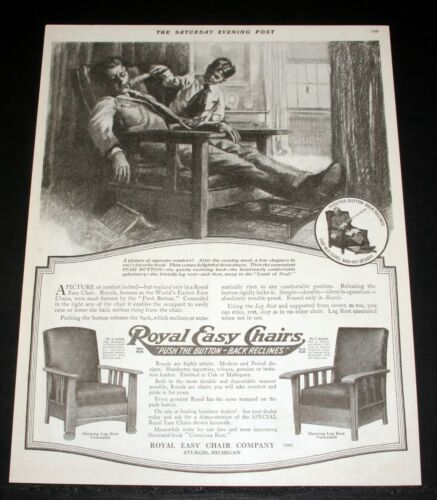 """1919 OLD MAGAZINE PRINT AD, ROYAL EASY CHAIRS, """"PUSH THE BUTTON -BACK RECLINES""""!"""