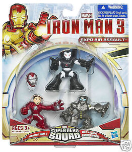 MARVEL IRON MAN 3 SUPER HERO SQUAD EXPO AIR ASSAULT WAR MACHINE HAMMER DRONE NEW
