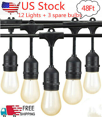 48Ft String Lights Outdoor Warm Soft Retro Decorative Lamp for Patio Vintage US