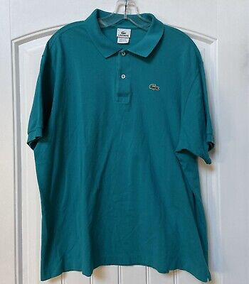Mens Lacoste Polo Shirt Teal Blue Shirt Sleeves 100% Cotton Size 8/ XXL