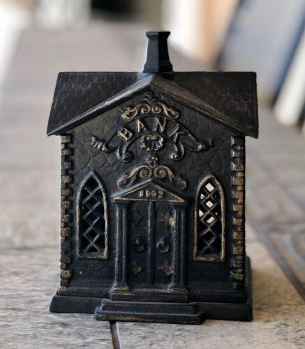 """Rare Vintage Kyser and Rex Cast Iron Still Coin Bank """"Villa"""" Church 1882"""