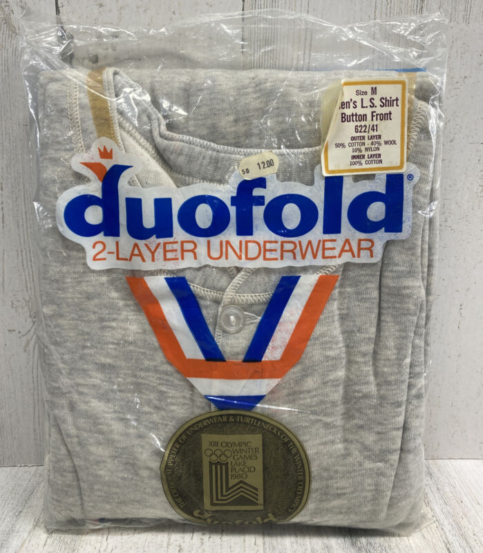 Vintage Duofold Size Medium (38-40) Men's L.S. Shirt Button Front Thermal - USA