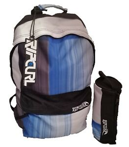 RIP CURL BLUE & BLACK BACKPACK + FREE PENCIL CASE BAG RUCKSACK SCHOOL SET