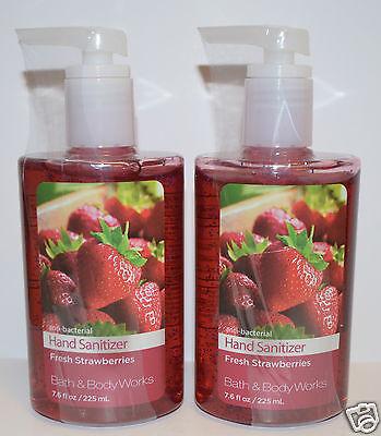 LOT OF 2 BATH & BODY WORKS FRESH STRAWBERRIES ANTI BACTERIAL HAND SANITIZER GEL