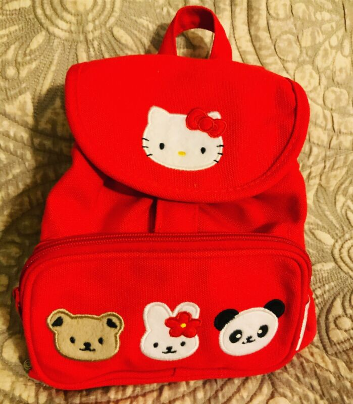 A Very Rare Vintage Bright Red Sanrio 1989,1999 Hello Kitty Backpack