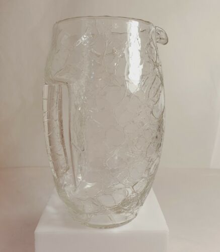 Koloman Moser Crackle Crystal Glass Pitcher Jug Vienna Secessionist Loetz Glass
