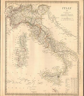 1840 ANTIQUE MAP- SDUK - ITALY IV, GENERAL MAP, SICILY,MALTA,SARDINIA, CORSICA