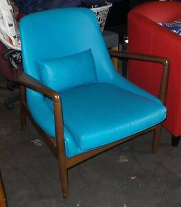 SINGLE ARMCHAIR ART RETRO STYLE BLUE Thebarton West Torrens Area Preview