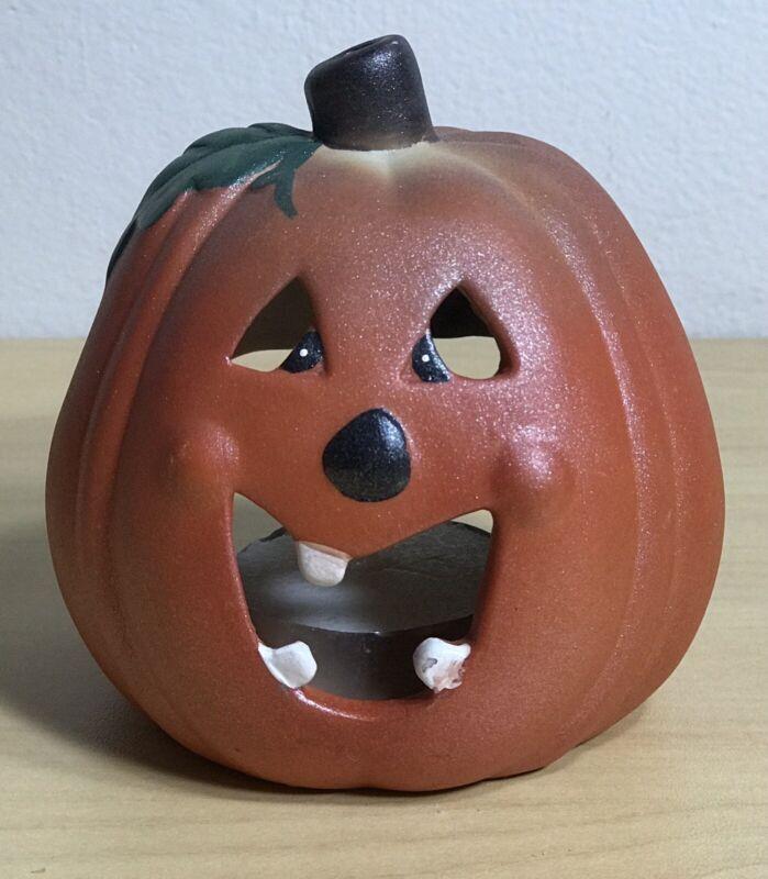 "3 1/2"" Ceramic Halloween Jack O Lantern Pumpkin Tea Light Holder"
