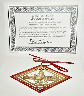 Christmas in Arkansas Ornament Capital Gold Plated 2009 Old State House Museum