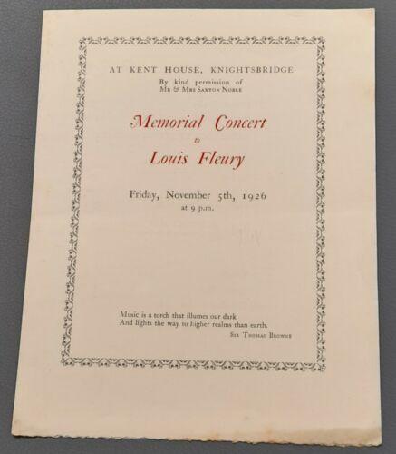 1926 programme Memorial concert Loius Fleury Adila Fachiri Violin Roger Quilter