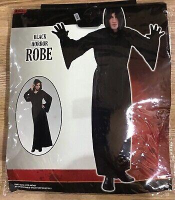 Uni Halloween Costumes (Nylon Horror Robe Halloween Costume with Hood for Adults Black One Size Uni-Sex)