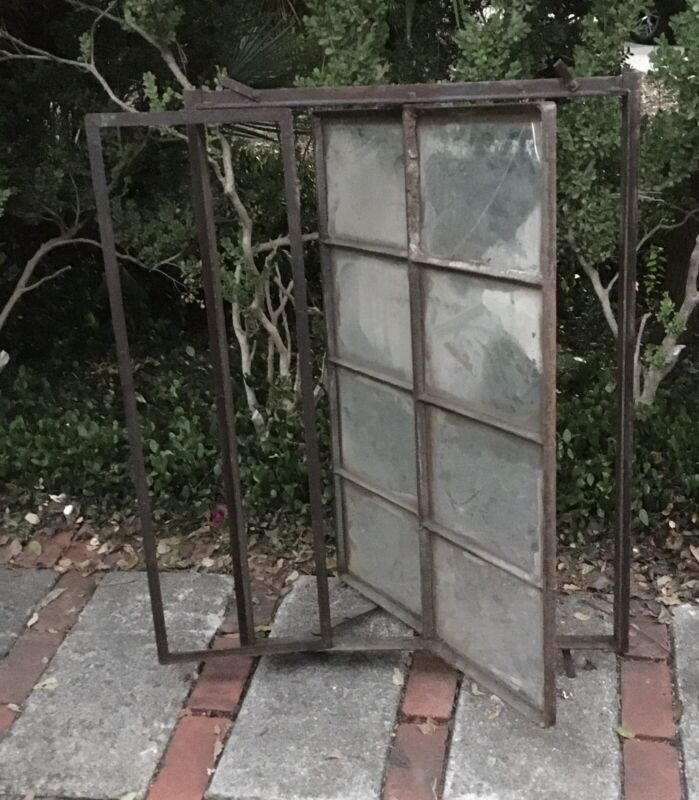 Antique French Industrial Factory Warehouse Hvy. Steel Framed Window 1900 RARE