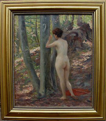 Vilhelm Holmgren 1863-1943, weiblicher Akt im Wald, um 1920