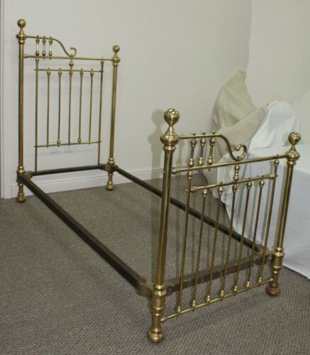 EXTREMELY RARE ANTIQUE PR OF VICTORIAN BRASS TWIN 3/4 BEDS THAT MAKE INTO A KING