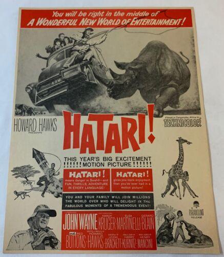 1962 red+white movie ad page ~ HATARI! ~ John Wayne