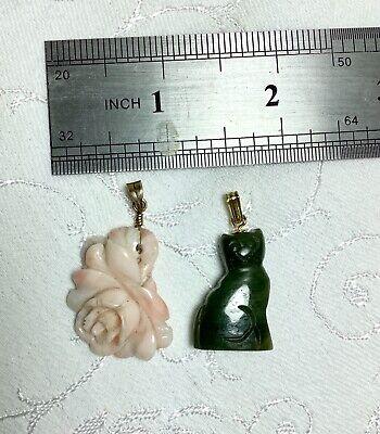 2 Vintage Hand Carved Pendants, Jade Cat & Angel Skin Coral Rose