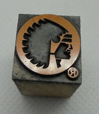 Vintage Printing Letterpress Printers Block Indian Head Chief
