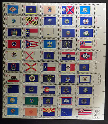 US 1633-82 1976 US STATE FLAGS POSTAGE STAMP SHEET ISSUE