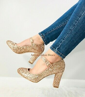 Rose Gold Glitter Vintage Wedding Bridesmaid Gatsby Costume 1920s Shoes Heels ()