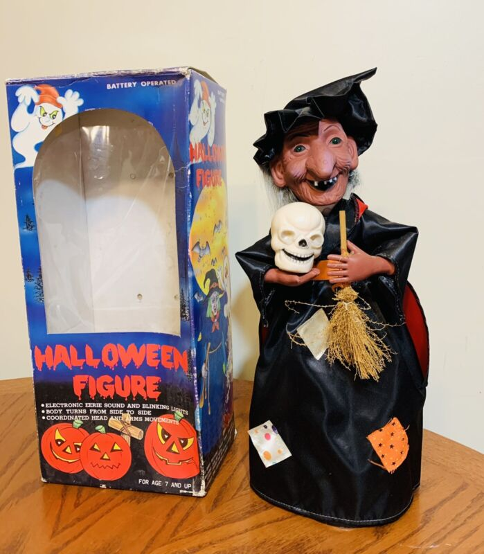 """VTG 1988 HALLOWEEN WITCH FIGURE ELECTRONIC SOUND BLINKING LIGHTS FUNNY TOYS 16"""""""