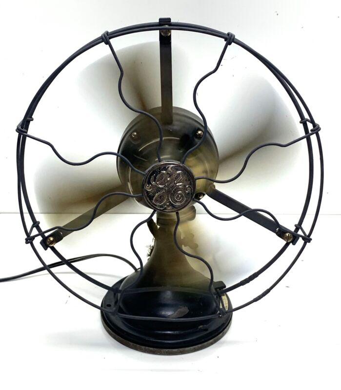 Vintage GE 12In. Brass Blade 3 Speed Fan (runs) Sold As Is