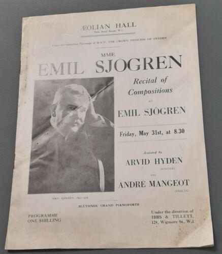 1929 Emil Sjogren Swedish Composer Concert Programme Andre Mangeot  Avrid Hyden