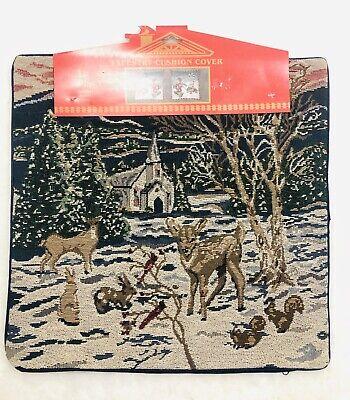 Xmas Animal Snow Church Decor Woven Tapestry Cushion Cover Azar Ind 16 X 16