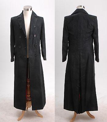Dr. Brown Long Trench Coat Suit BLACK Halloween Cosplay Costume Custom Made (Brown Coat Halloween Costume)
