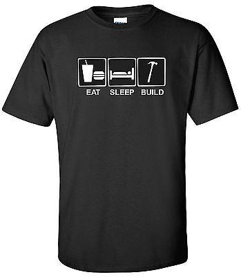 Eat Sleep Build T-Shirt Construction Worker Contractor Builder Shirt S-2XL