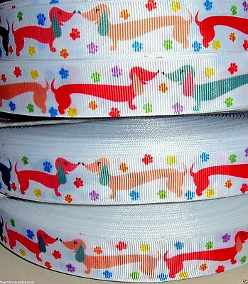 """1 metre 22mm(7/8"""")wide COLOURED DACHSHUND SAUSAGE DOG  PRINTED GROSGRAIN RIBBON for sale  Shipping to United States"""
