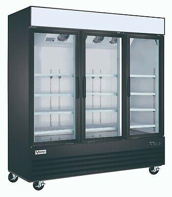 Vortex Commercial 3 Glass Door Merchandiser Freezer In Black - 69 Cu. Ft.