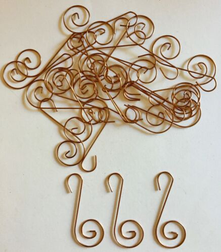 30 Decorative Copper S Swirl Wire Christmas Tree Ornament Hooks or Hangers NEW!