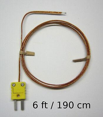 K-type Thermocouple Wire Probe W. High Temperature Kapton Insulation 6 Ft Sensor