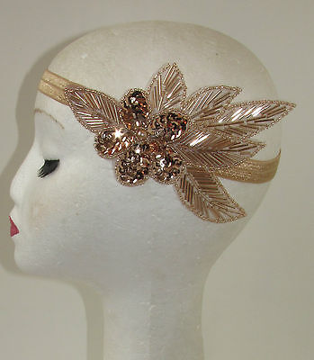 Rose Gold Nude Beaded Headband Headpiece Vintage 1920s Great Gatsby Flapper S64 - Beaded Flapper Headpiece