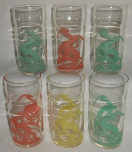 1950s Mid Century Set (6) FEDERAL GLASS - GAZELLE PATTERN 8 oz Glass Tumblers