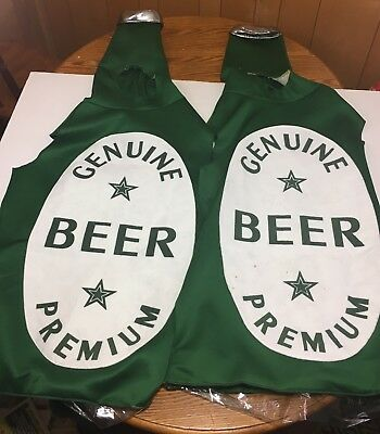 Set Of Two Beer Bottle Adult Halloween Costume - Premium Genuine Beer Unisex. - Premium Adult Halloween Costumes